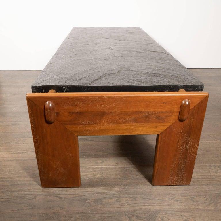 Mid-Century Modern Slate Top Cocktail Table with Hand Rubbed Walnut Base For Sale 2