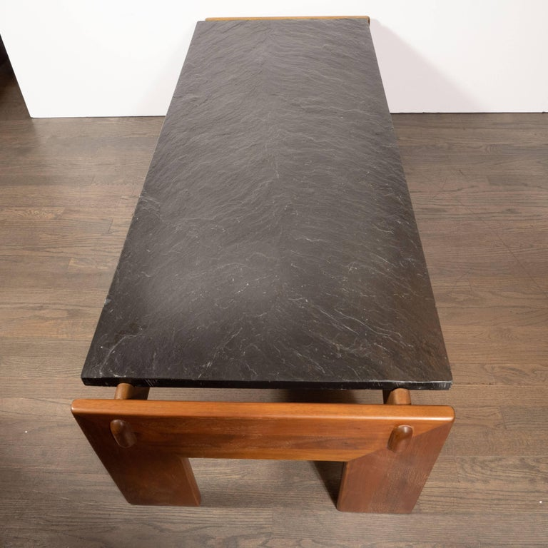 Mid-Century Modern Slate Top Cocktail Table with Hand Rubbed Walnut Base For Sale 4
