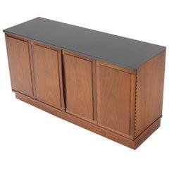 Mid-Century Modern Slate Top Petit Oiled Walnut Credenza Cabinet