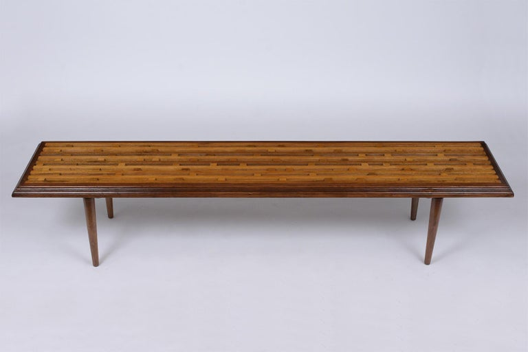 American Mid-Century Modern Slatted Bench, circa 1960s For Sale