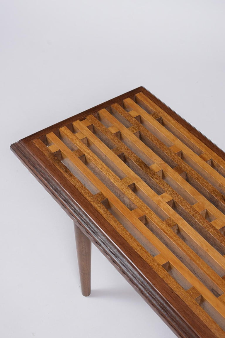 Mid-Century Modern Slatted Bench, circa 1960s In Good Condition For Sale In Los Angeles, CA