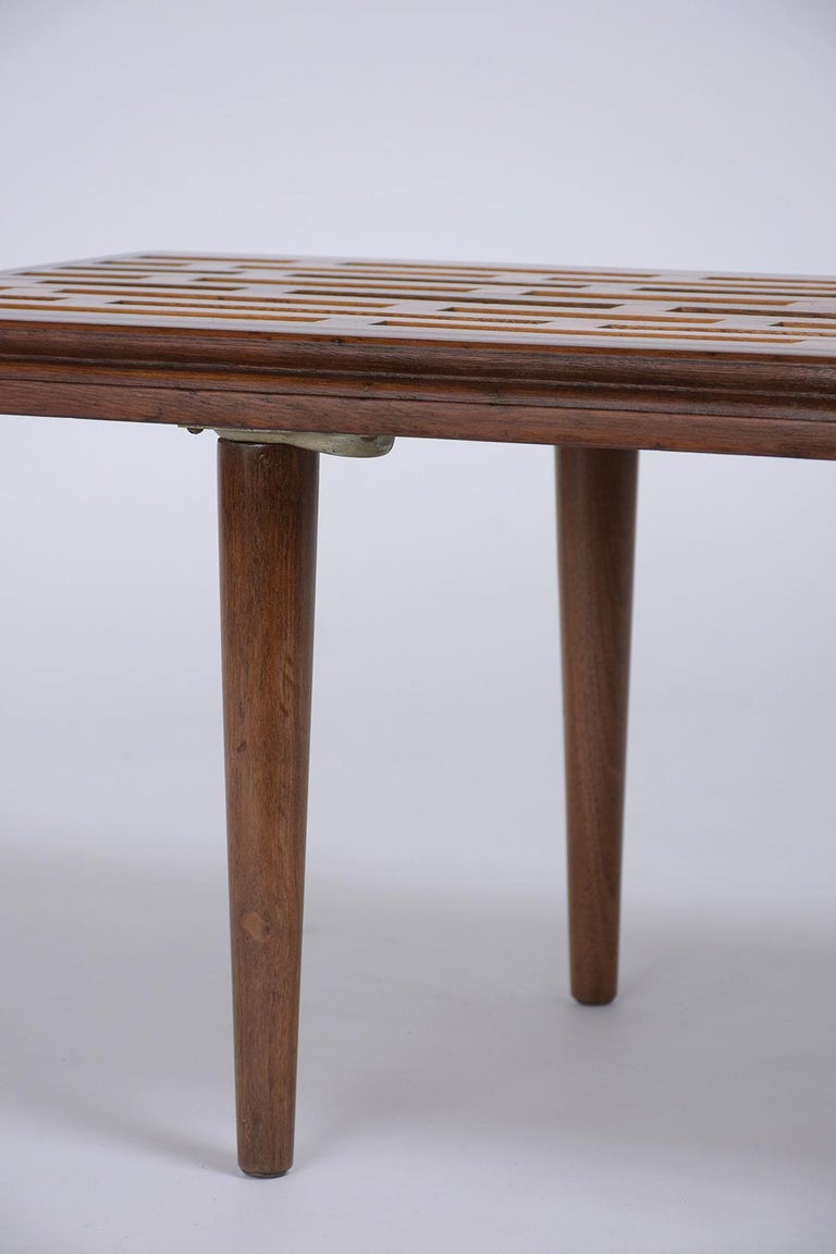 Maple Mid-Century Modern Slatted Bench, circa 1960s For Sale