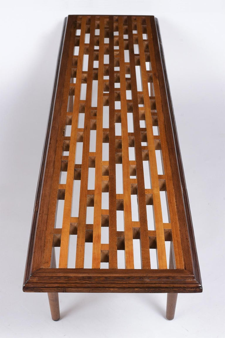 Mid-Century Modern Slatted Bench, circa 1960s For Sale 1