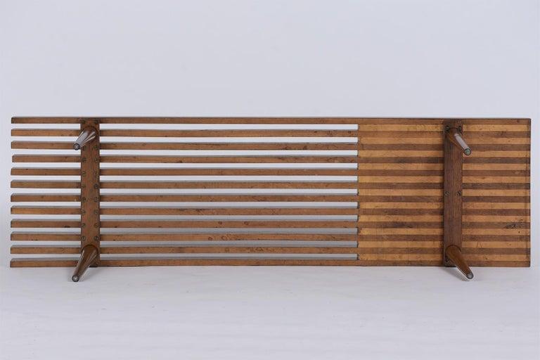 Mid-Century Modern Slatted Bench 3