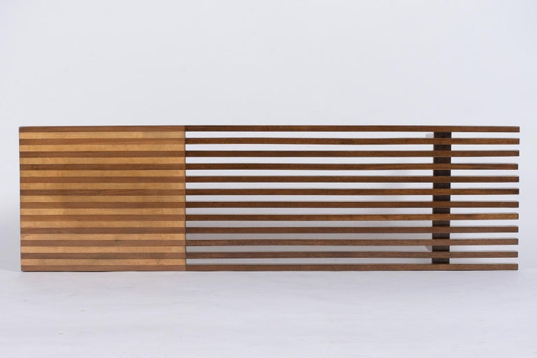 American Mid-Century Modern Slatted Bench