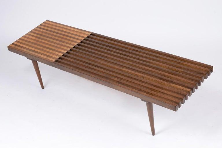 Wood Mid-Century Modern Slatted Bench