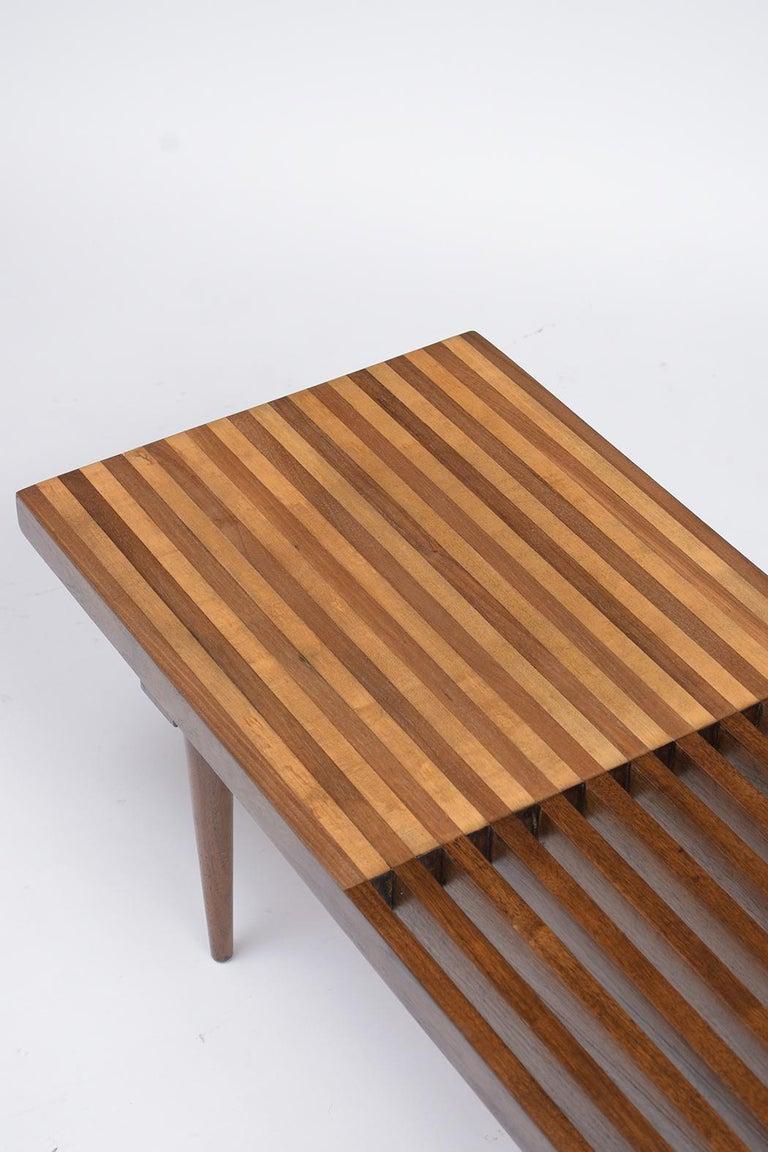 Mid-Century Modern Slatted Bench 1