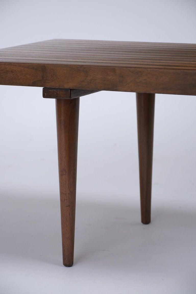 Mid-Century Modern Slatted Bench 2