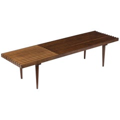 Mid-Century Modern Slatted Bench