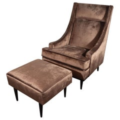 Mid-Century Modern Sleigh Back High Chair and Ottoman in Smoked Bronze Velvet