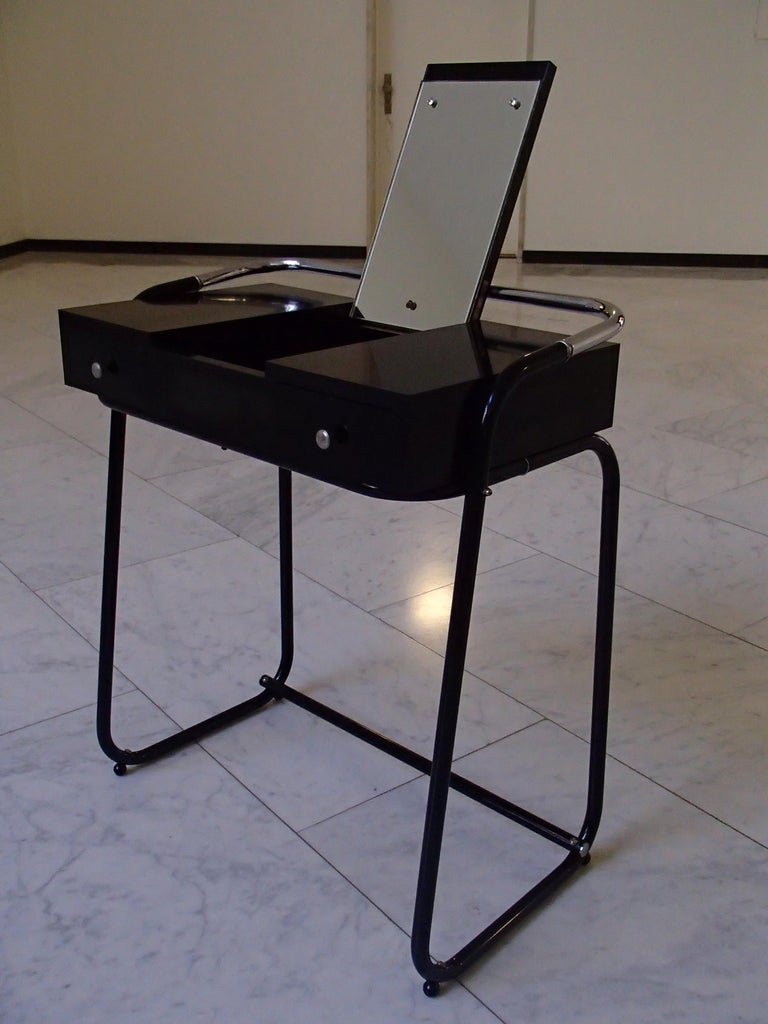 Mid-Century Modern Small Black Dressing Table or Desk with 2 Drawers and Mirror For Sale 8