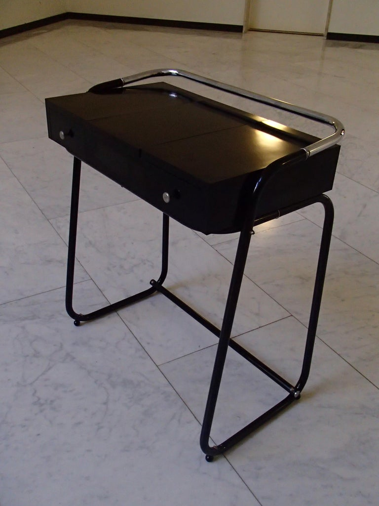 Mid-Century Modern Small Black Dressing Table or Desk with 2 Drawers and Mirror For Sale 9