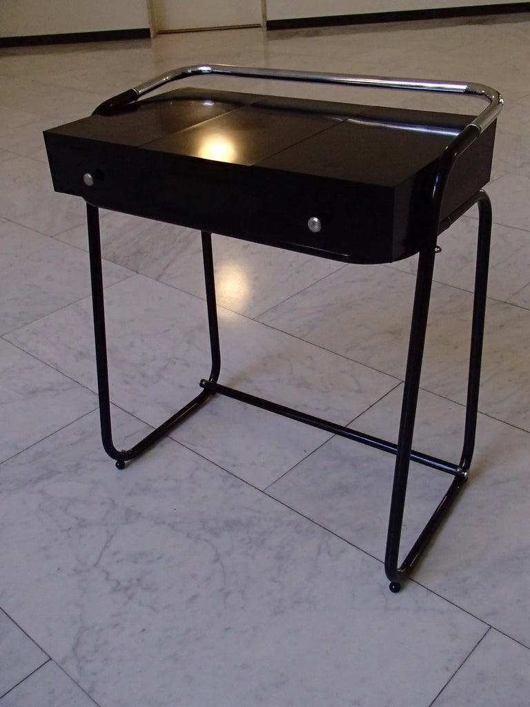 Mid-Century Modern Small Black Dressing Table or Desk with 2 Drawers and Mirror For Sale 10