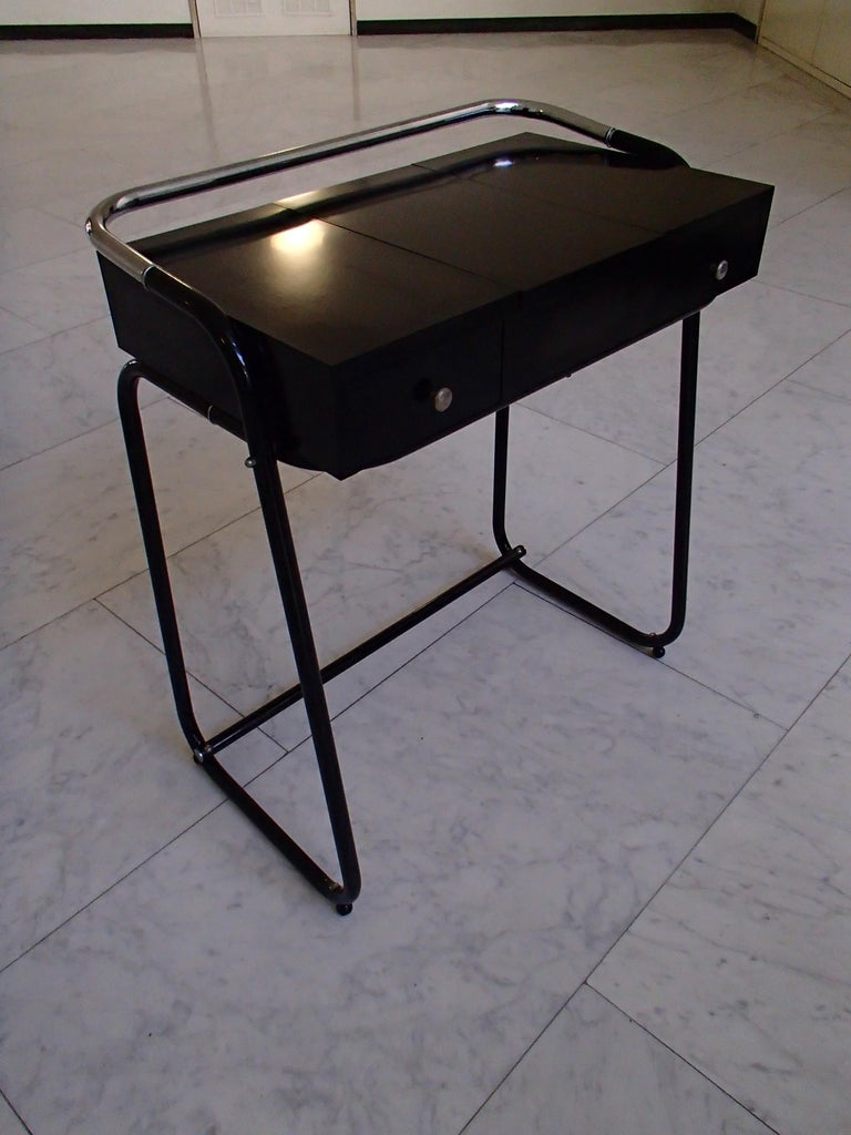 Mid-Century Modern small dressing table or desk with 2 drawers and mirror. Chrome frame partly black painted.