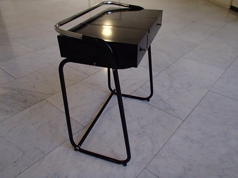 French Mid-Century Modern Small Black Dressing Table or Desk with 2 Drawers and Mirror For Sale