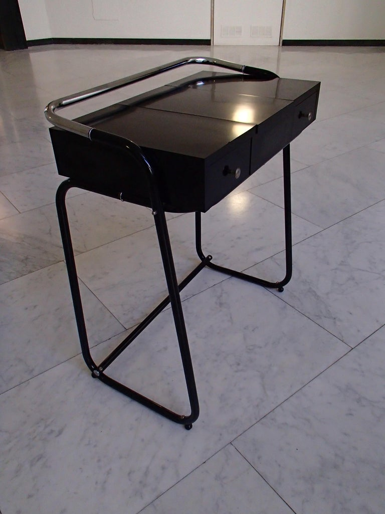 Mid-Century Modern Small Black Dressing Table or Desk with 2 Drawers and Mirror In Good Condition For Sale In Zurich, CH