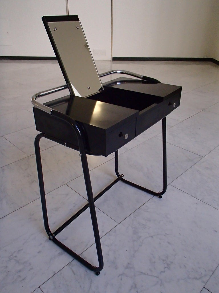 Mid-20th Century Mid-Century Modern Small Black Dressing Table or Desk with 2 Drawers and Mirror For Sale