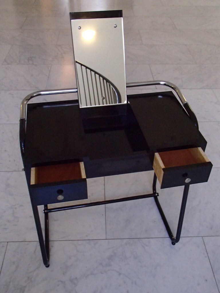 Mid-Century Modern Small Black Dressing Table or Desk with 2 Drawers and Mirror For Sale 2