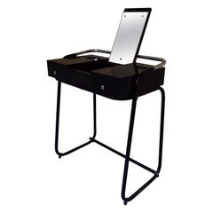 Mid-Century Modern Small Black Dressing Table or Desk with 2 Drawers and Mirror