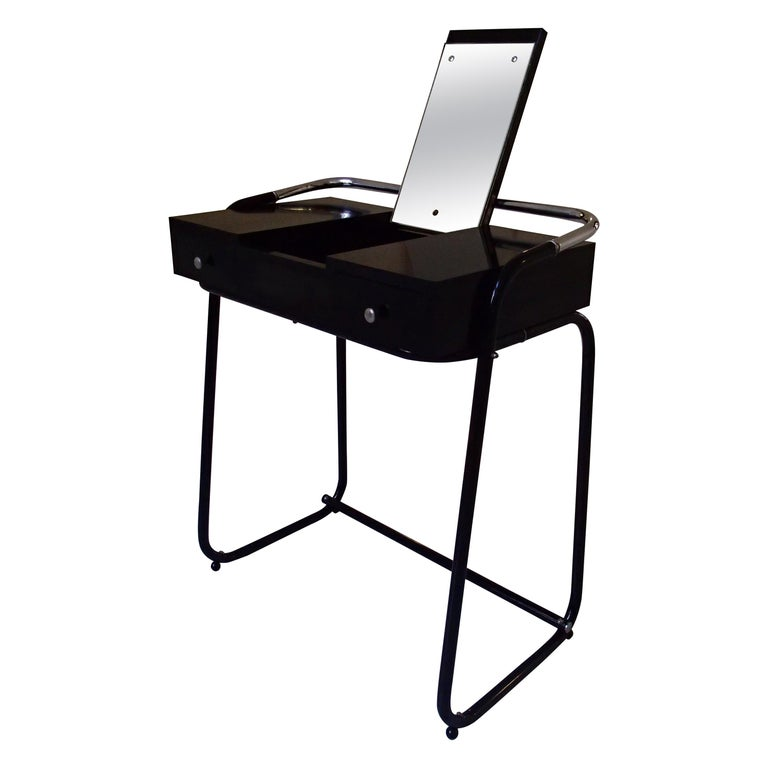 Mid-Century Modern Small Black Dressing Table or Desk with 2 Drawers and Mirror For Sale