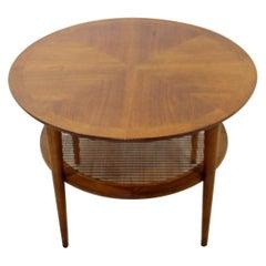 Mid-Century Modern Small Lane Altavista Wood Cane Round Coffee Table, 1960s