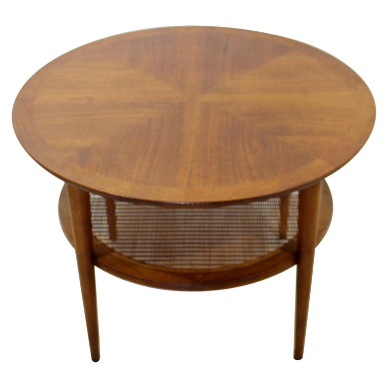 Mid Century Modern Small Lane Altavista Wood Cane Round Coffee Table 1960s At 1stdibs