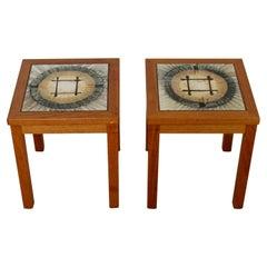 Mid-Century Modern Small Pair of Square Teak Tile Side End Tables Denmark 1960s