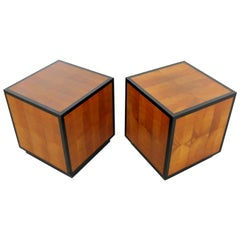 Mid-Century Modern Small Pair of Square Wood Framed Cube Side End Tables, 1960s