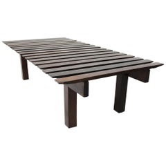 Mid-Century Modern Small Rosewood Slatted Bench, Brazil, 1960s
