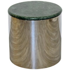 Mid-Century Modern Small Round Green Marble Top Chrome Drum Side End Table 1970s