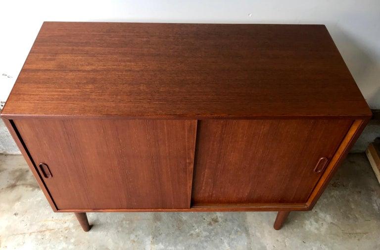 Mid-Century Modern Small Teak Credenza or Storage Cabinet, Denmark, 1960s For Sale 1