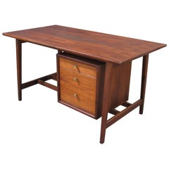 Mid-Century Modern Small Walnut Desk with Round Pulls