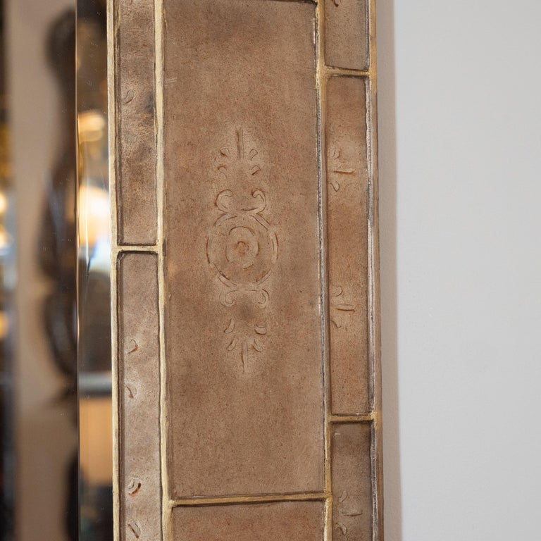 Mid-Century Modern Smoked Bronze Églomisé and Gilt Shadowbox Mirror In Excellent Condition For Sale In New York, NY