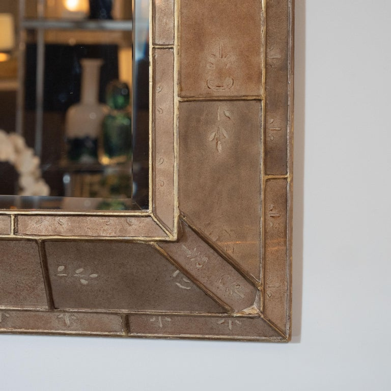 Mid-Century Modern Smoked Bronze Églomisé and Gilt Shadowbox Mirror For Sale 1