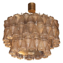 Mid-Century Modern Smoked Champagne Glass Chandelier Attributed to Seguso