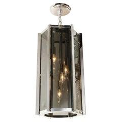 Mid-Century Modern Smoked Glass and Chrome Hexagonal Lantern Chandelier