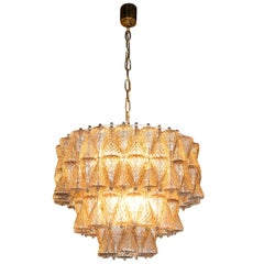 Mid-Century Modern Smoked Glass Chandelier Attributed to Seguso