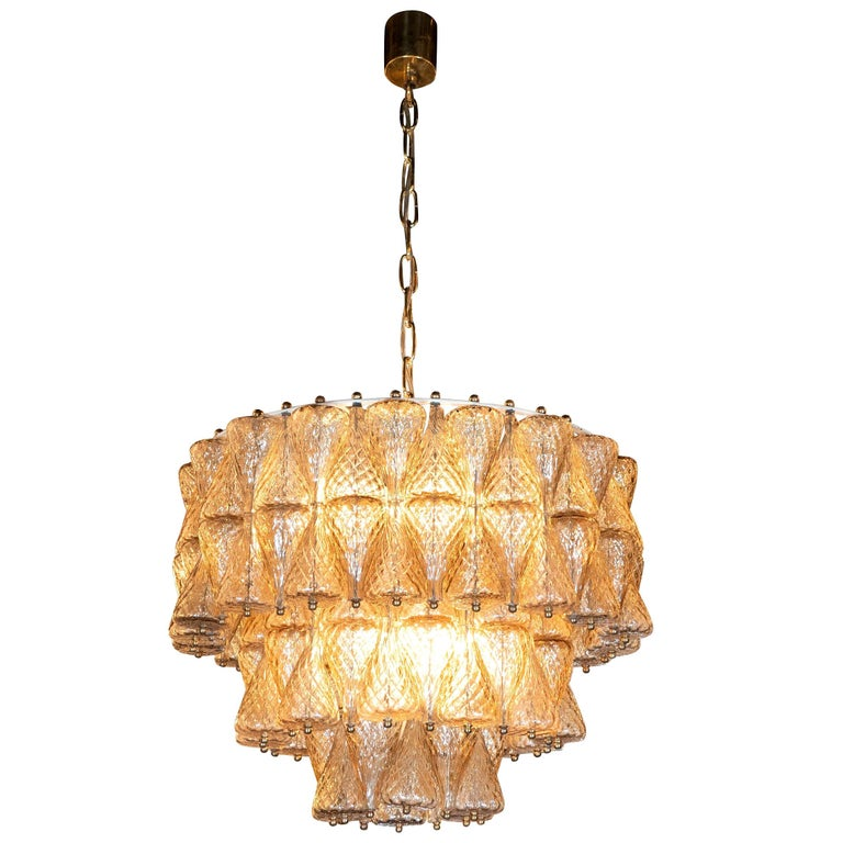Mid-Century Modern Smoked Glass Chandelier Attributed to Seguso For Sale