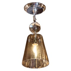 Mid-Century Modern Smoked Glass Pendant with Chrome Fittings