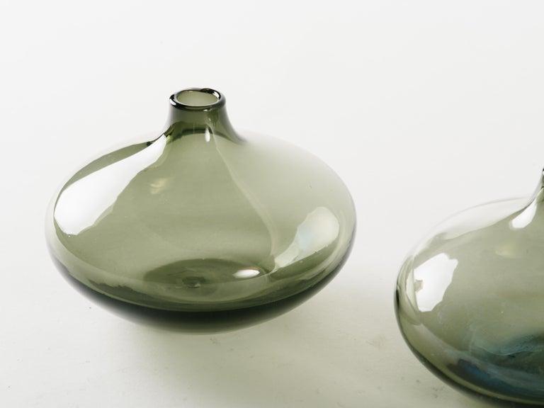 Danish Mid-Century Modern Smoked Grey Glass Teardrop Bud Vase For Sale
