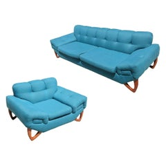 Mid-Century Modern Sofa and Lounge Chair Set in the Manner of Adrian Pearsall