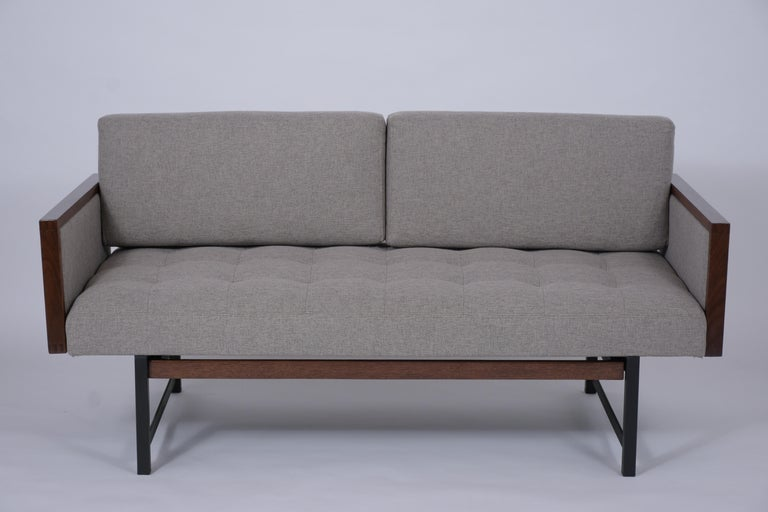 Hand-Crafted Vintage Modern Tufted Sofa For Sale