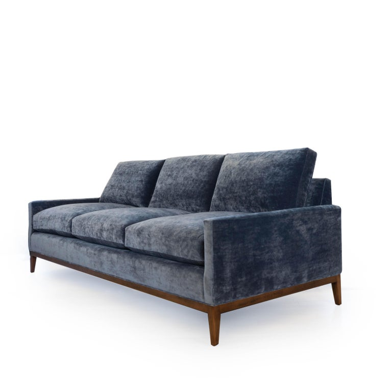 Mid Century Modern Sofas: Mid-Century Modern Sofa In Blue Velvet For Sale At 1stdibs