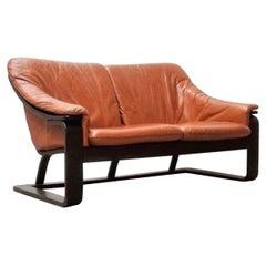 Mid-Century Modern Sofa in Caramel Leather, 1960s, Denmark