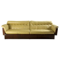 Mid-Century Modern Sofa in Hardwood and Leather by Lineart Móveis, Brazil 1960s
