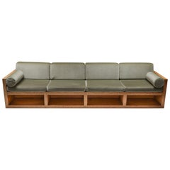 Mid-Century Modern Sofa in Pitch Pine and Velvet