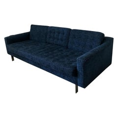 Mid-Century Modern Sofa Knoll Inspired in Blue Fabric and Chrome Legs