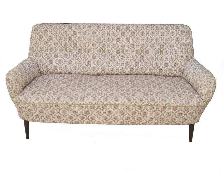 Sofa Loveseat settee Walnut tone legs.