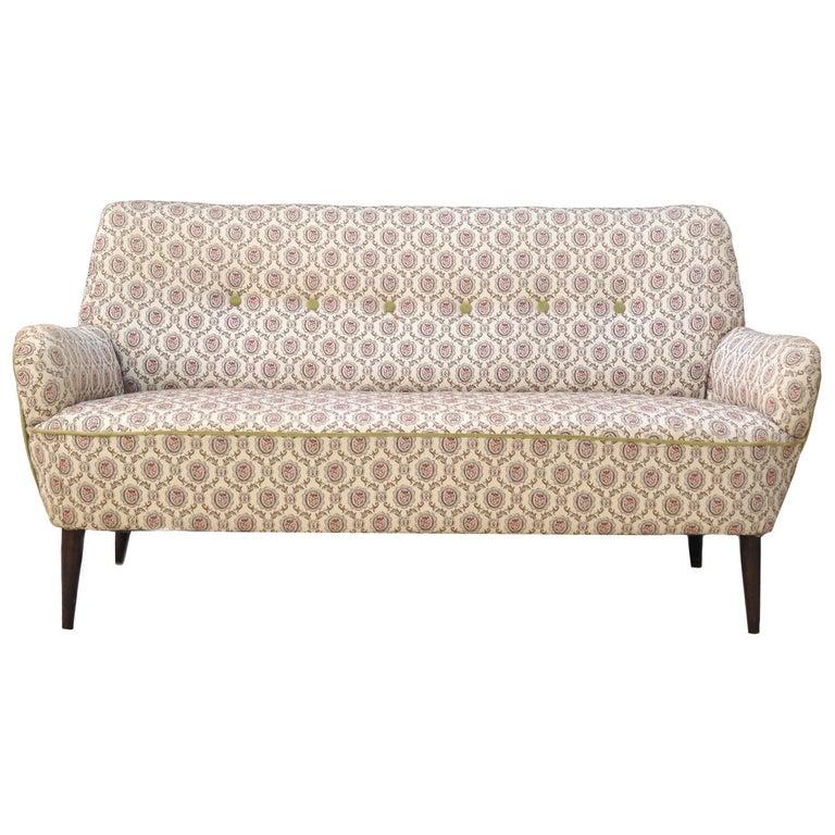 Mid-Century Modern Sofa Loveseat Settee Manner of Gio Ponti For Sale