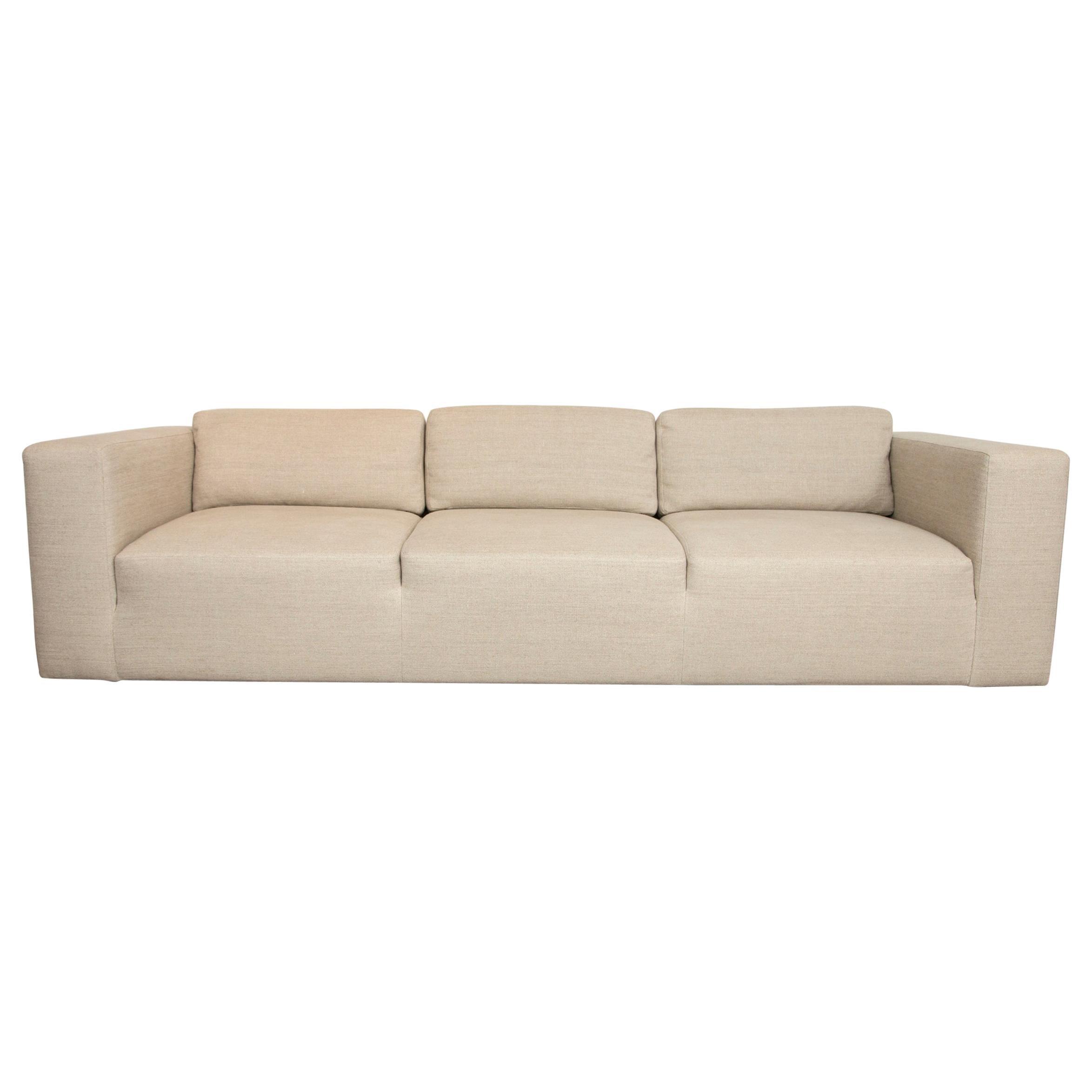 Mid-Century Modern Sofa Redone in Flax Belgian Linen
